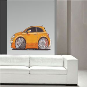 Koolart Large 70cm New Shape Fiat 500 S Wall Art
